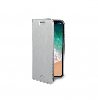 Чехол-книжка Celly Air для Apple iPhone X серебристый